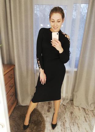Платье, платье резинка, платье рубчик, платье миди