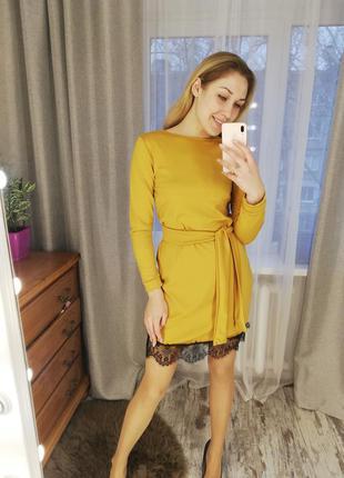 Платье, платье трикотаж, платье с кружевом