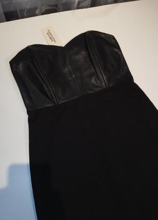 Платье асимметрия хвост сзади со вставками эко кожи