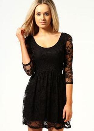 Черное платье 3/4 рукав, гипюр boohoo. размер 6