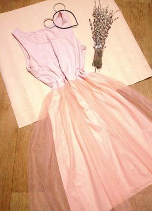 Нежное платье с фатиновой юбкой