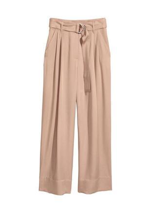 Трендовые бежевые широкие брюки палаццо штаны с защипами бежев...