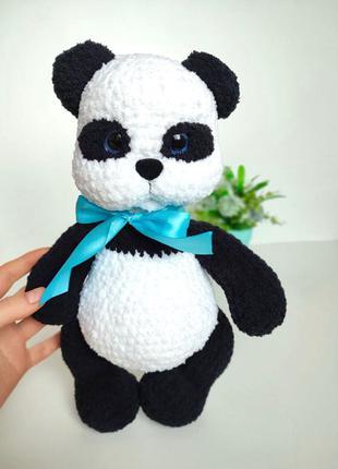 Панда плюшевая вязаная крючком