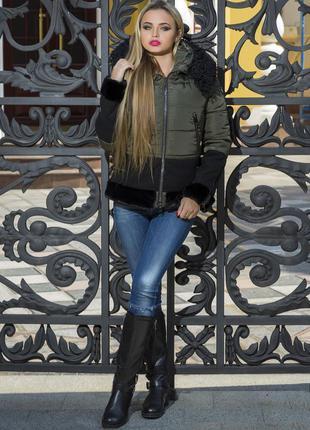 Женская молодежная куртка с мехом, укороченный вариант