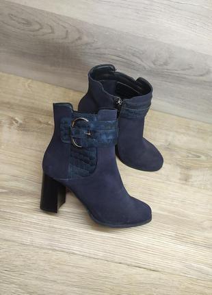 Замшевые ботинки на каблуке женские , 37 размер , демисезонные...