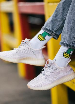 Adidas yeezy boost 350 v2 static pink шикарные женские кроссов...