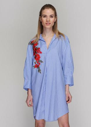 Шикарное платье рубашкас вишивкой  от zara