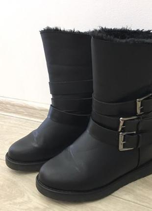 Ботинки женские чёрные зима, внутренняя танкетка