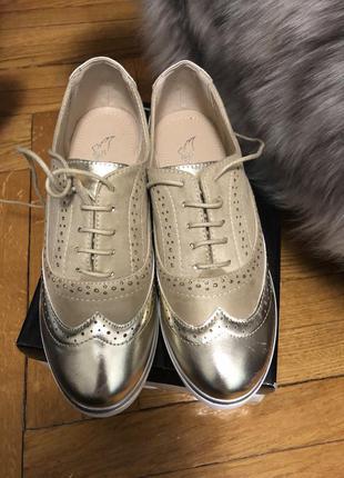 Туфли лоферы на низком ходу золото/беж