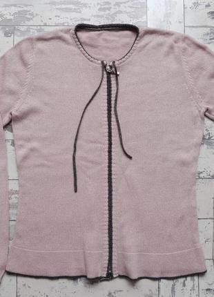 Розовая кофта кардиган на молнии с шелком и кашемиром