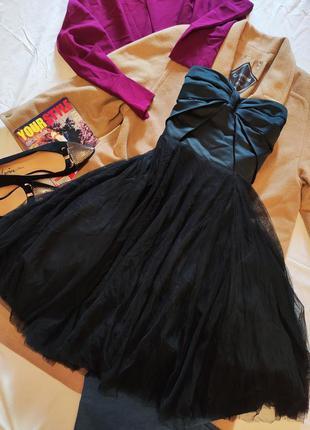 Чёрное коктейльное вечернее бальное пышное платье миди корсет ...