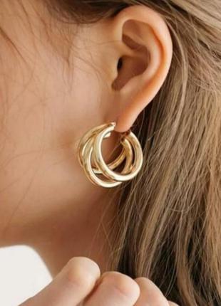 Серьги кольца, крупные, цвет золото