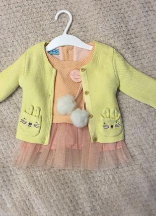 Платье и кофточка на девочку 3-6 месяцев