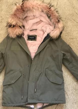 Парка , куртка с розовым мехом balmain
