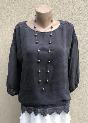Серая,шелковая блуза,рубаха,кофточка,кружево,этно бохо стильшелк,