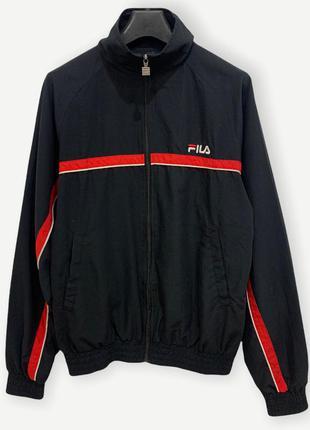 Куртка вітровка ветровка fila спортивна винтажная чоловіча чорна