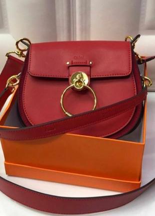 Клатч сумка в стиле chloe хлое кожа красная