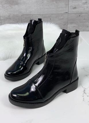 Крутые лаковые ботинки на низком каблуке,высокие лакированные ...