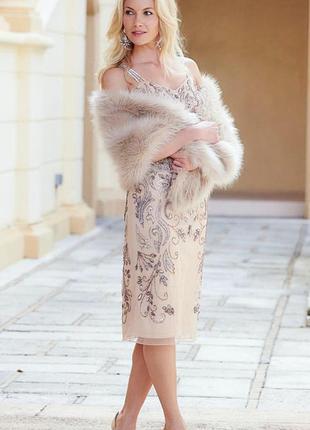 Платье вечернее фатин расшитое бисером и пайетками joanna hope...