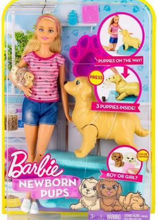 Барби и собака с новорожденными щенками Barbie Newborn Pups FBN17