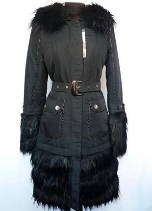 Стильная куртка пальто с мехом, трансформер. новая, р. 42