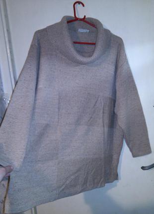 Тёплый-30% шерсть,5% шёлк,трикотажный,меланж свитер с хомутом,...