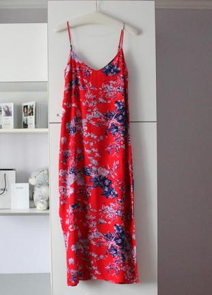 Длинное красное платье в цветы от marks&spencer