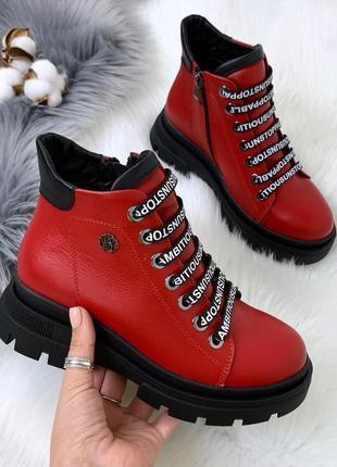 ❤ женские красные весенние демисезонные кожаные ботинки на бай...