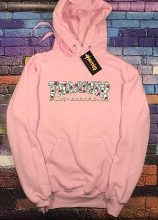 Толстовка розовая thrasher roses • худи розовый