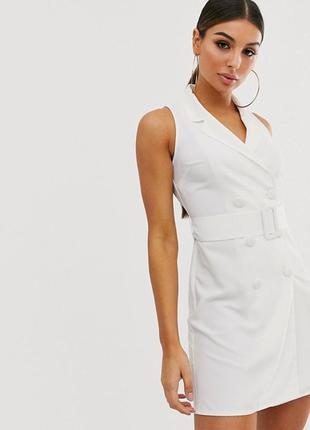 Белое платье пиджак без рукавов asos, платье-блейзер мини с по...