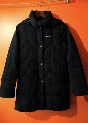 Черный женский пуховик пальто с капюшоном brambilla