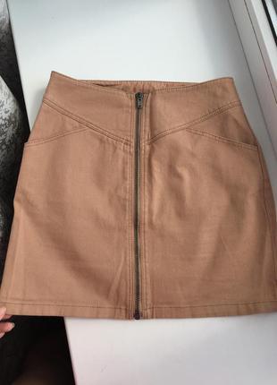 Стильная юбка h&m р. xs/s спереди молния спідниця
