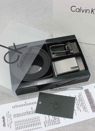 Мужской подарочный набор calvin klein чёрный коричневый ремень...