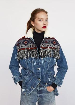 Женская теплая джинсовая куртка парка на меху в этно стиле бах...