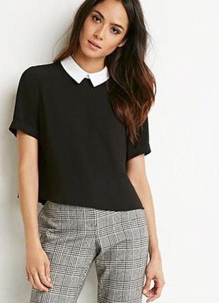 Стильная базовая блузка с контрастным воротником