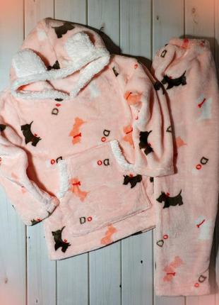 Пижама теплая для девочки махровая с капюшоном,мягкая,очень пр...