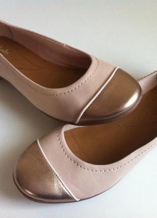 Мега комфортные кожаные туфли , балетки clarks 👠 размер 37-37,...