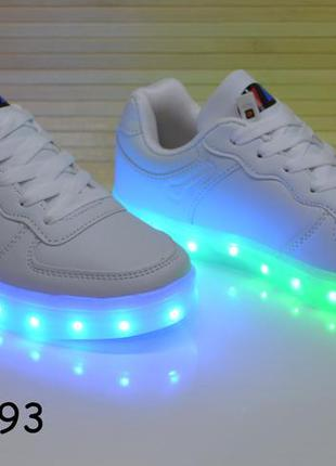Кроссовки со светящей led подошвой с usb кабелем размеры 32-37
