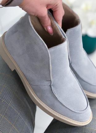 ❤ женские серые весенние демисезонные лоферы ботинки на байке ❤