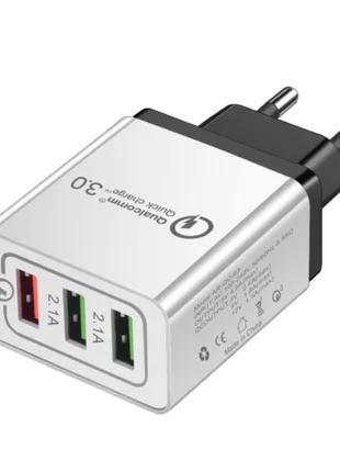 Качественное зарядное на три UBS выхода с быстрой зарядкой QC3.0