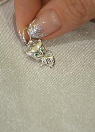 Кулон котик из серебра