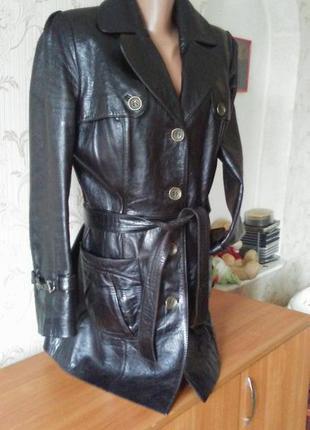 Шикарный кожаный удлинённый пиджак френч ....срочно!!!