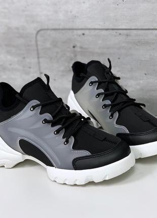 Женские кроссовки с силиконовыми вставками,чёрные спортивные к...