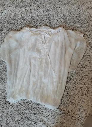 Туника белая, шелковая , блузка шелковая
