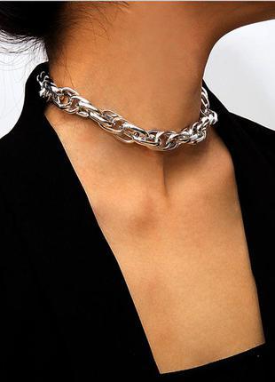 Ожерелье, цепочка, колье, серебристая, украшение, цепь, чокер,...