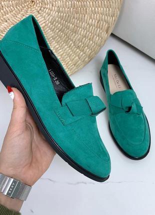 ❤ женские зеленые туфли лоферы экозамша ❤