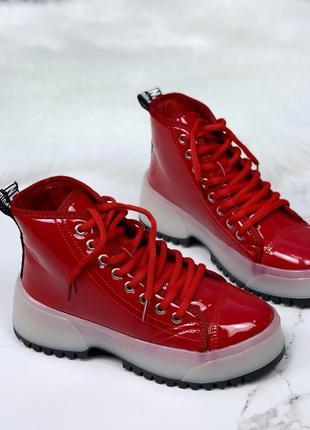 ❤ женские красные весенние деми ботинки на флисе ❤