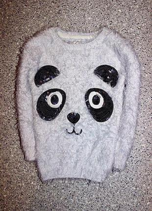 Джемпер свитшот панда свитер травка одежда девочка