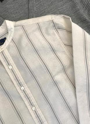Фактурная рубашка в полоску с воротником-стойкой