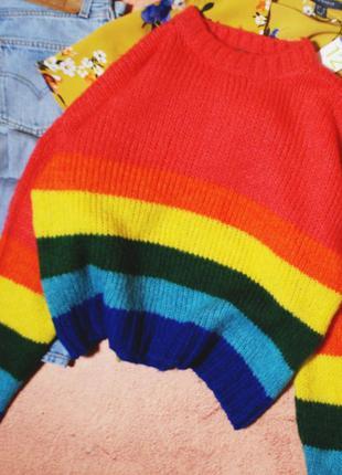 Тотальная распродажа! радужный свитерок свободного кроя
